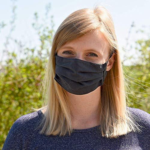 DOPPELPACK Mundmaske groß schwarz- waschbar - wiederverwendbare Behelfs-Maske/Mund-Nasen-Maske (2er Set), mit Nasensteg/Metalldraht - doppellagig, 100% Baumwolle (OEKO-Tex)