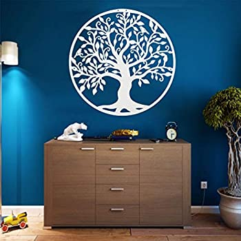 Metal Wall Art - White Tree of Life - Metal Family Tree - Metal Wall Silhouette Metal Wall Decor Home Office Decoration Bedroom Living Room Decor  34 W x 35 H / 88x90 cm