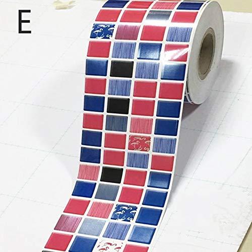 3/5 M moderno baño decorativo pegatinas DIY cocina vinilo cintura autoadhesivo papel pintado fronteras impermeable PVC adhesivo pared (color: E, tamaño: 12 cm x 3 m)