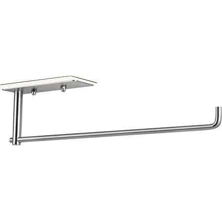 SMARTAKE Paper Towel Holder Under Cabinet, SUS304 Stainless Steel, Wall Mounted & No Drilling, with Easy Remove Adhesives, Rustproof & Waterproof Paper Towel Holder for Kitchen, Bathroom, Home, Silver