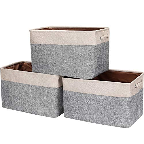 HOKEMP Foldable Storage Bins 3-Pack - 149 x 102 x 9 inch Fabric Storage Basket Collapsible Durable Organizer Bin with Carry Handles for Nursery Home Closet Toys Towels Laundry - Beige Gray