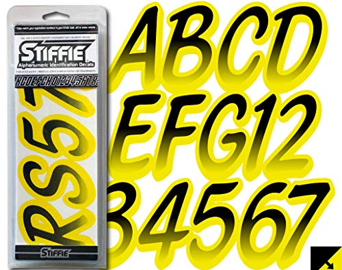"""Stiffie Whipline Black/Electric Yellow 3"""" Alpha-Numeric Registration Identification Numbers Stickers Decals for Boats & Personal Watercraft"""