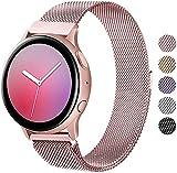 Wanme Correa Compatible con Samsung Galaxy Watch Active/Active 2 40mm 44mm, 20mm Metal Pulsera de Repuesto de Acero Inoxidable para Galaxy Watch 3 41mm / Gear S2 Classic/Gear Sport (Rosa)