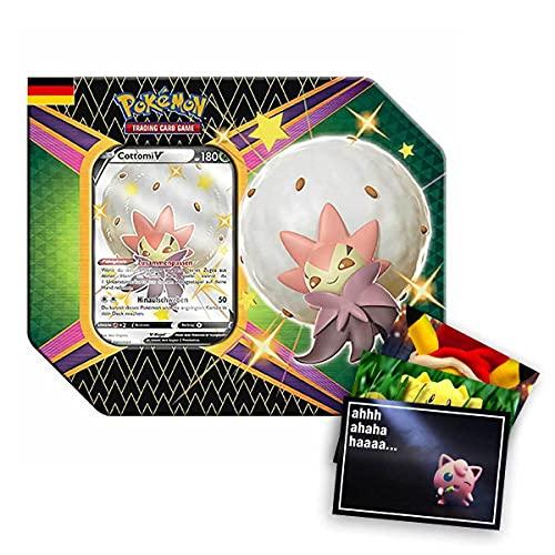 Lively Moments Pokemon Karten Tin Box SWSH 4.5 Glänzendes Schicksal Cottomi V DE und Exklusive GRATIS Grußkarte
