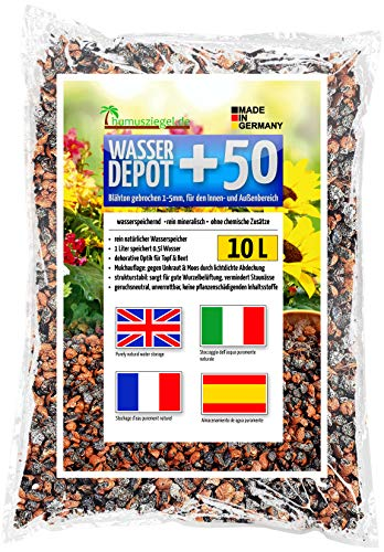 Humusziegel - Water Depot +50 expanded Clay granules 1-5mm Crushed for Potting Soil, as Water Reservoir, Against Weeds and waterlogging, as top Layer 10 l