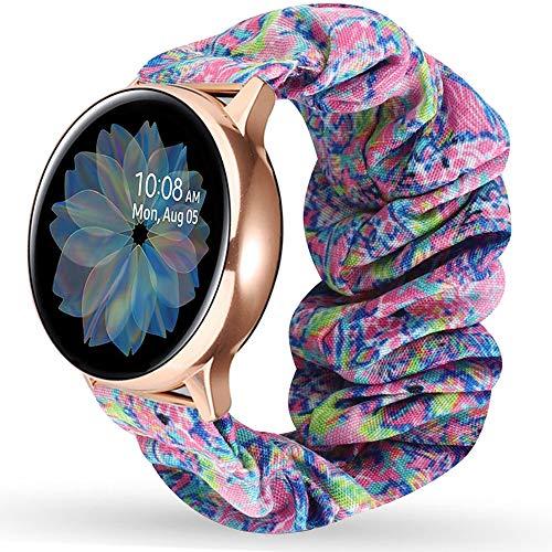 Miimall - Correa de reloj para Samsung Galaxy Watch Active/Active 2, 44 y 40 mm, tela estampada elástica del Galaxy Watch Active/Active 2, 44 mm, 40 mm, color morado