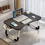 ARVINKEY - Scrivania per computer portatile con cassetto, supporto per computer portatile, supporto per lettura, divano, vassoio per colazione con slot per tablet e fessura per tazze, colore: nero
