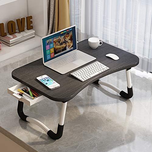 ARVINKEY Laptop-Schreibtisch mit Schublade, Verstellbarer Laptop-Bettablage, Notebook-Ständer, Lesehalter, Sofa, Frühstücksbett-Tablett mit Tablet-Steckplätzen (schwarz)