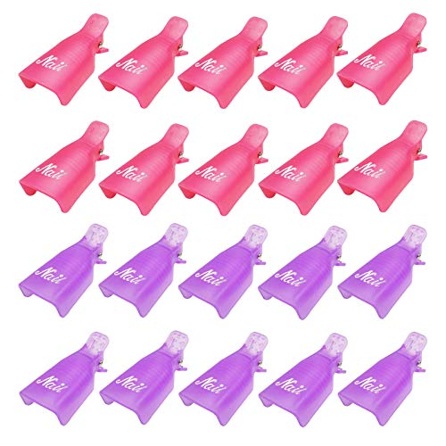 Nail Polish Remover Clips 20 Pack Reusable Nail Clips for Fingernail Polish Removal Soak off Finger Gel Polish Remover Wraps Clamps (Purple, Pink)