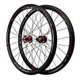 LICHUXIN Oksmsa 700C Bicicleta De Carretera Juego De Ruedas Fibra Carbon Freno De Disco Liberación Rápida 7/8/9/10/11 Velocidad Volante Aleación Aluminio Ruedas (Color : Red, Size : 40MM)