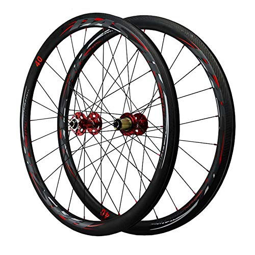 ZCXBHD 700C Road Bike Wheelset Carbon Fiber Disc Brake Quick Release 7/8/9/10/11 Speed Flywheel Aluminum Alloy Wheels (Color : Red, Size : 50MM)