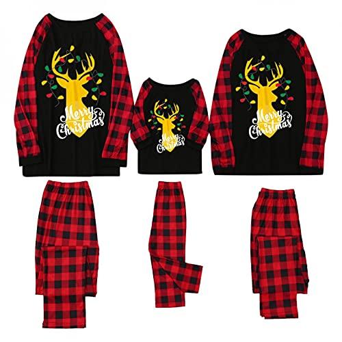 VEKDONE Christmas Pajamas for Family PJ's Sets Halloween Costumes Holiday Family Jammies Shirts and Pants Sleepwear Sets F