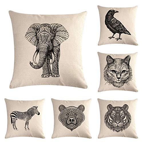 ZLXIONG - Funda de almohada de lino (6 piezas, 45 x 45 cm), color blanco y negro