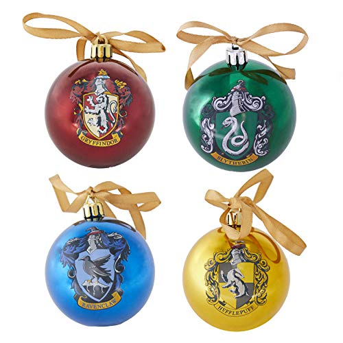 Paladone PP6750HP Harry Potter Hogwarts Tree Decorations-Set of 4 Ornament Baubles, Multicoloured, One Size