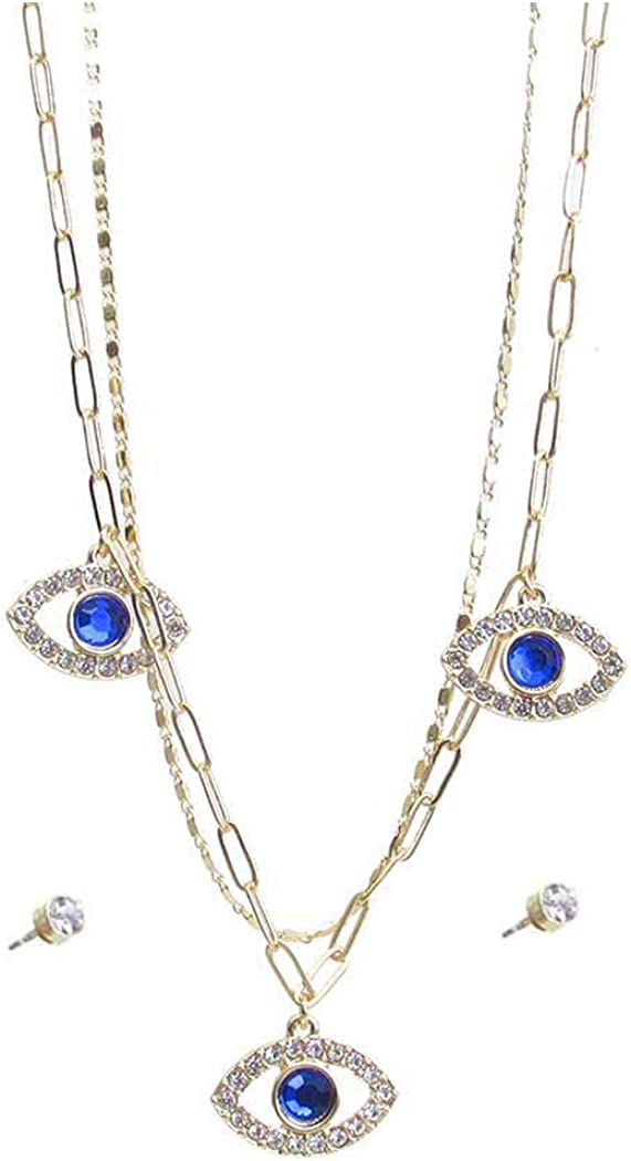 Fashion Jewelry ~ Evil Eye Pendant Triple Layer Necklace and Earrings Set Goldtone for Women Teens Girlfriends Birthday Gifts