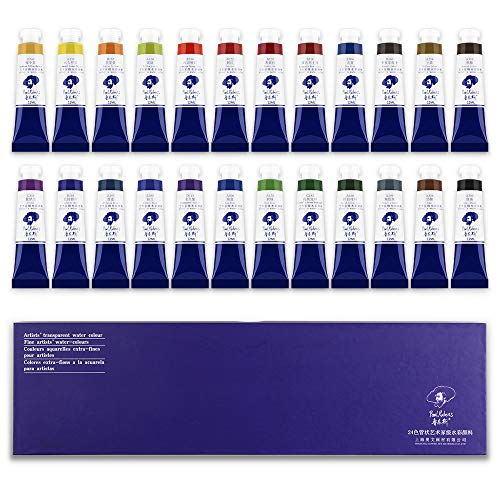 Paul Rubens Watercolor Tubes, 24 Colors x 12ml Tubes Artist Grade Watercolor Paints Set, Extra Fine Highly Pigmented Paint Perfect for Hobbyist and Artist