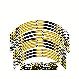 Etiquetas engomadas de Las calcomanías de Las Ruedas de la Motocicleta Establecer Rayas laminadas para BMW F700GS (Color : Yellow)