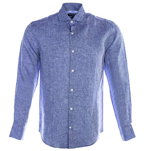 Frescobol Carioca Regular Linen Block Shirt in Melange Blue