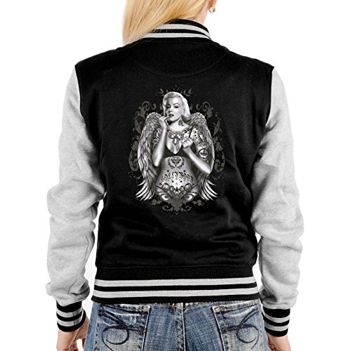 Goodman Design College Jacke schwarz/grau Damen mit Marylin Monroe Motiv : Marilyn/Tattoo Marylin - Collegejacke Farbe: schwarz Gr: M