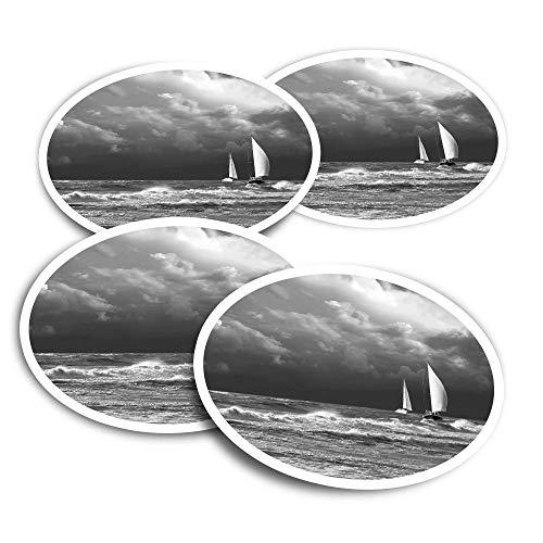 Pegatinas de vinilo (juego de 4) 10 cm – BW – barco de vela tormenta océano divertido calcomanías para ordenadores portátiles, tabletas, equipaje, reserva de chatarra #38285