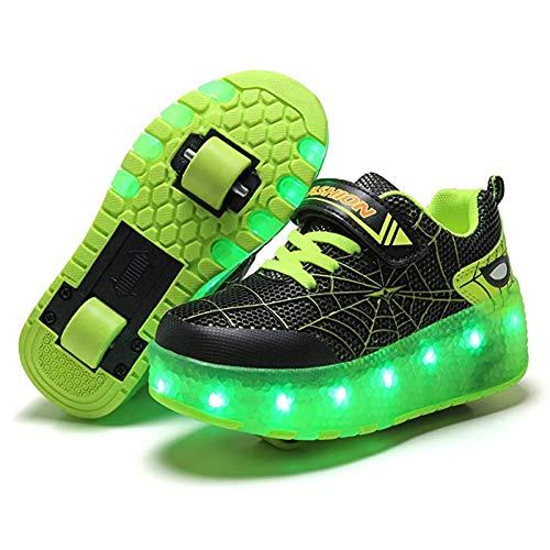 MEFKY Zapatos Patinaje sobre Ruedas con LED Patines Línea Intermitentes Recargables por USB Patines Técnicos Retráctiles Automáticos Zapatillas Deporte Aire Libre (Color : Green, Size : 30)