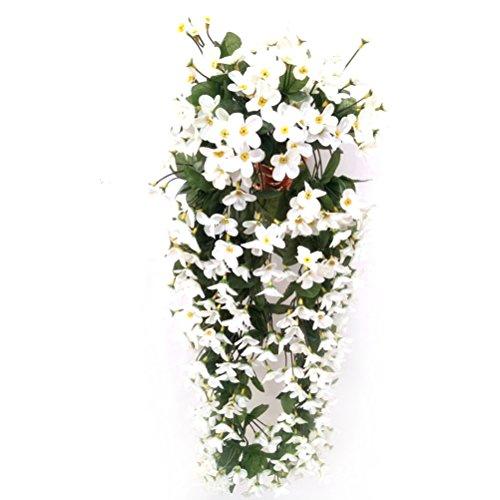 VORCOOL 4petals Künstlich hängende Blumen, Blauregen Hängende Kunstblumen für Hochzeit Haus Dekoration (Weiß)