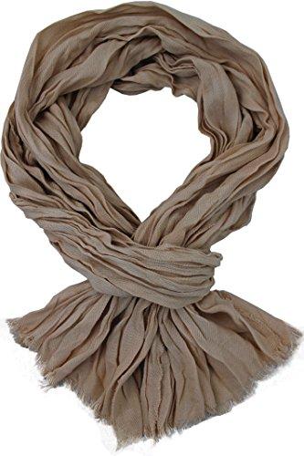 sciarpa uomo estiva Rotfuchs Sciarpa estiva Crinkle-Finish effetto stropicciato alla moda beige 100% cotone 180 x 30 cm