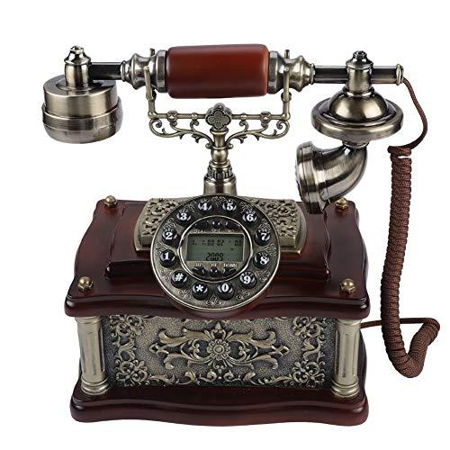 VBESTLIFE Klassische Holz Retro Vintage Telefon,Wählscheibe Antik Festnetz FSK/DTMF Telefon für Hause,Büro, Haus, Sterne Hotel, Kunstgalerie, Schmuckgeschäft usw.