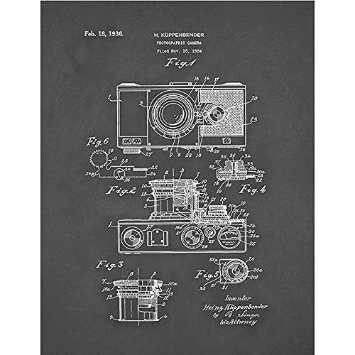 WQHLSH Cámara de Cartel Vintage Patente Pintura Pintura Cámara Antigua Pósteres E Arte De La Pared Retro Fotos De Decoración Fotografía 20x28InCHX1 Sin Marco