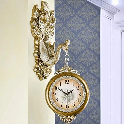 AIOJY Doble Reloj De Estar Delante De La Moda Decorativa Relojes Personalidad De Pavo Real De Reloj Que Cuelga De Silencio