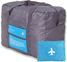 Zonku Waterproof Foldable Travel Luggage Bag for Unisex Luggage Travel, Sport Handbags, Cosmetic Bag Happy Flight Bag for Men & Women- Blue