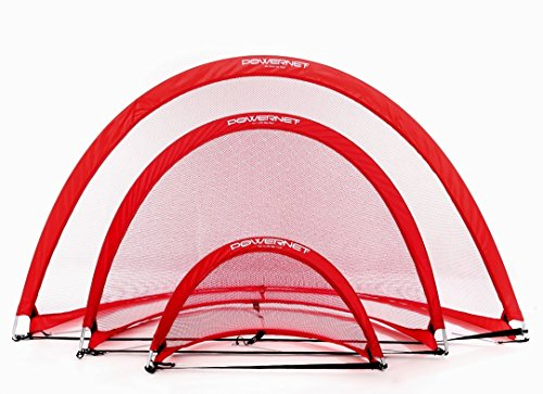 PowerNet Popup Soccer Goals Portable Net | 2 Goals+1 Carrying Bag | Durable, Lightweight Frame | Quick Setup Easy Folding Storage | Short Small Side Game | Technical Practice Net Shot Accuracy | Kids