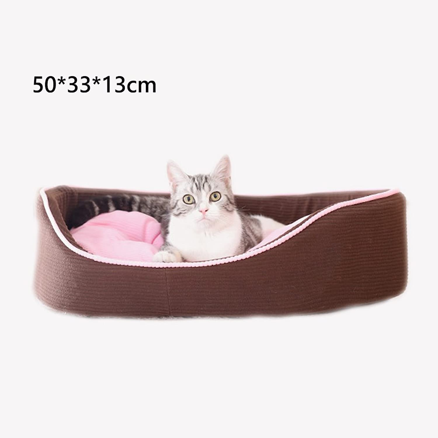 Kennel GAOLILI Cat Litter Washable Season Pet Cat Bed Cat Litter Warm Cat House (Size   50  33  13cm)