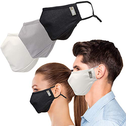 Copper Compression Face Mask - 2 Pack - Highest Copper Content Reusable Face Masks For Men and Women (Gray)
