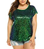 IN'VOLAND Women's Sequin Tops Plus Size Round Neck Sparkle Top Shimmer Glitter Short Sleeve T-Shirt Tunic Blouse Green