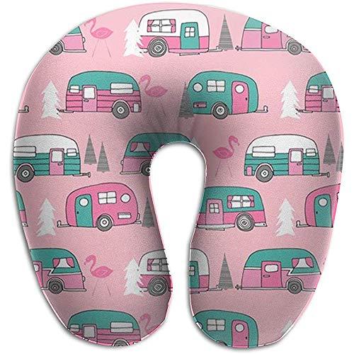 Speciale winkel U-vormig kussen nekkussen voor nekslapers cervical Head neksteun kussen (Happy Pink Retro Flamingo Camping)