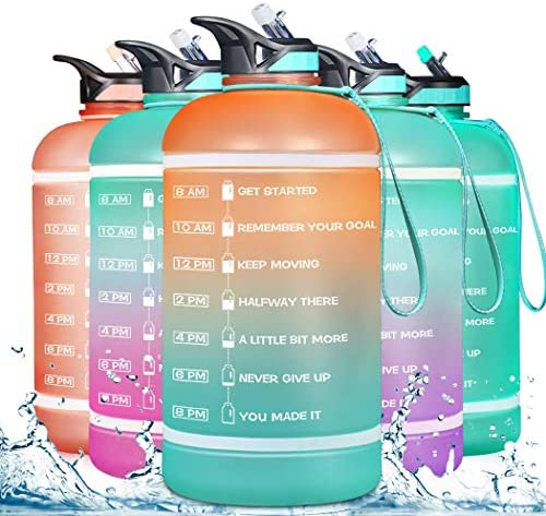 ZOMAKE Gallon Water Bottle 128OZ with Time Marker Straw Motivational Water Jug BPA Free Leakproof product image