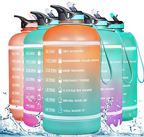 ZOMAKE - Botella de agua de galón (122 oz/82 onzas) con marcador de tiempo y pajita, botella de agua motivacional sin BPA para fitness, gimnasio y deportes al aire libre