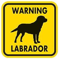 WARNING LABRADOR マグネットサイン:ラブラドール(イエロー)Mサイズ