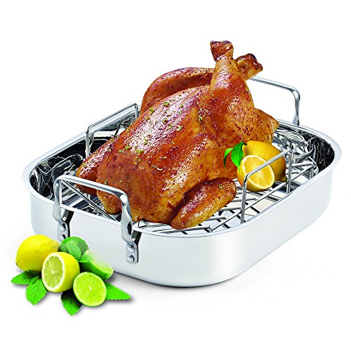 Cooks Standard 16-Inch by 13-Inch Stainless Steel Roaster with Rack, Rectangular