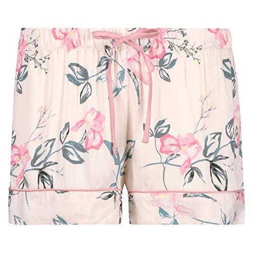 HUNKEMÖLLER Damen gewebte Pyjama-Shorts mit Blumenmuster in Einer weiten Passform Beige XS