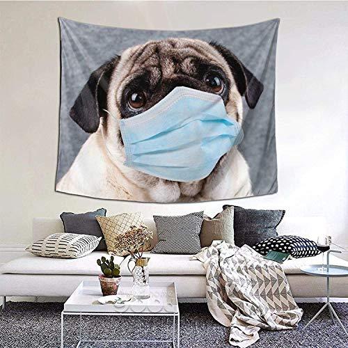 YeeATZ Tapiz decorativo para pared con diseño de perro con cara de anime, para sala de estar, dormitorio, 150 x 150 cm