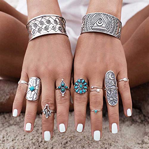 Yean Boho Ring Set Silver Statement Rings Joint Knuckle Ring Set Midi Stacking Rings for Women and Girls(Pack of 9) (Boho) (Boho)