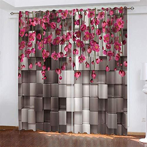 YUNSW Blumen Meer 3D Digitaldruck Vorhänge, Garten Wohnzimmer Küche Schlafzimmer Verdunkelungsvorhänge, Perforierte Vorhänge 2-teiliges Set