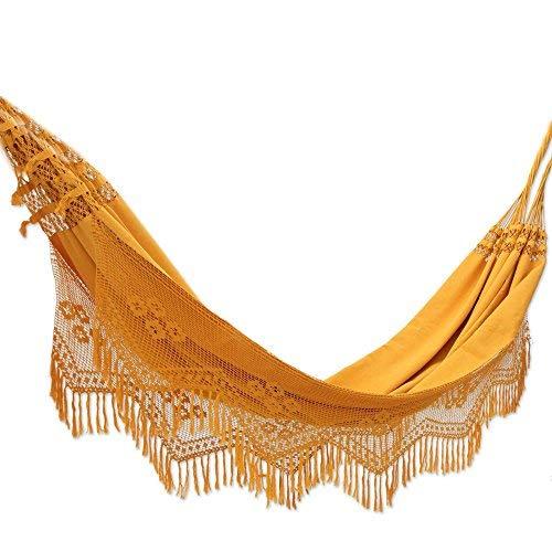 NOVICA Yellow Orange Cotton Fabric 2 Person XL Brazilian Hammock with Crochet Fringe, Belem Sun' (Double)