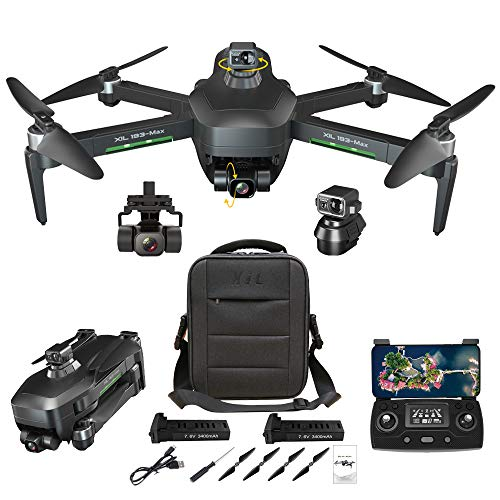 NiGHT LiONS TECH GPS Drones with Camera for Adults,Obstacle Avoidance,3-Axis Gimbal 4K HD Camera, Anti-Shake, 5G WIFI FPV, Long Flight Time,Brushless Motor, Auto Return Home(2 batteries)