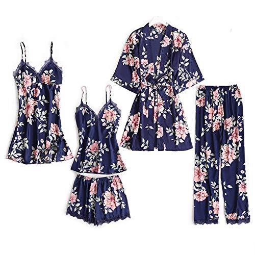 Osane Damen Nachthemd-Sets Hauskleidung Spitzennachthemd Robe Nachthemden-in, Blau, M