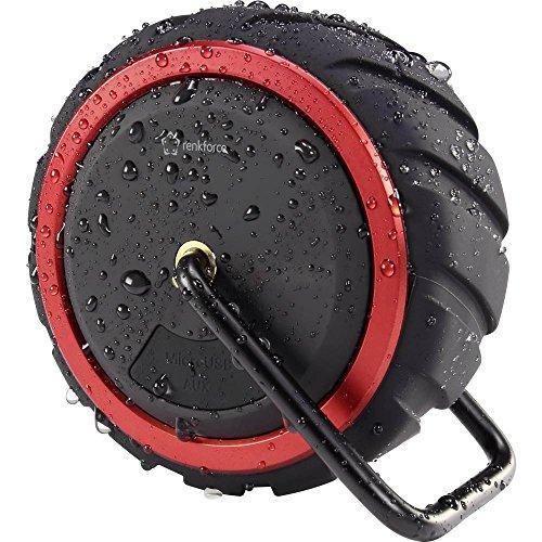 Renkforce AdventureWheel1 Bluetooth® Lautsprecher Freisprechfunktion, spritzwassergeschützt, AUX Schwarz, Rot