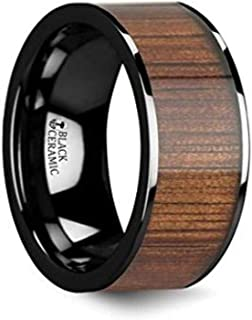 ATREUS Polished Black Ceramic Flat Wedding Band with Exotic Hawaiian Koa Wood Inlay 10mm Custom Personalized Inside Engraved from Roy Rose Jewelry