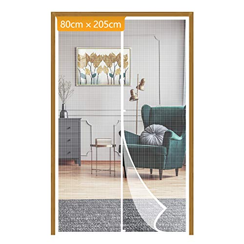 Yotache White Fiberglass Magnetic Screen Door Size 80 x 205 cm, Heavy Duty for Home Apartment Door with Full Frame Hook&Loop Strip